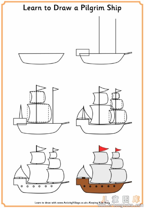 how to draw a pirate ship easy
