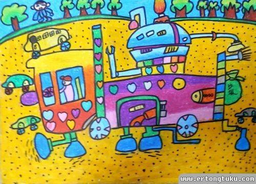 儿童蜡笔画作品:沙滩清洁车