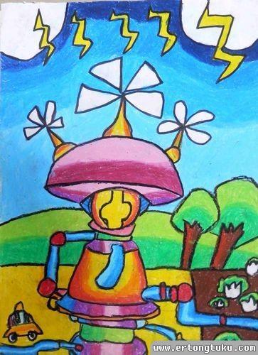 儿童蜡笔画作品:雷电回收器