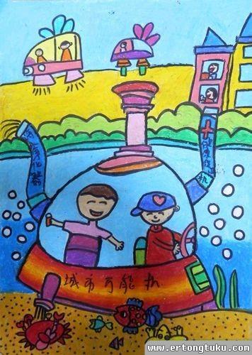 儿童蜡笔画作品:《城市万能机》