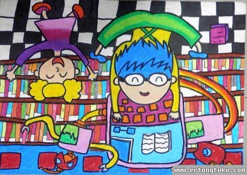 儿童蜡笔画作品:《图书馆机器人》