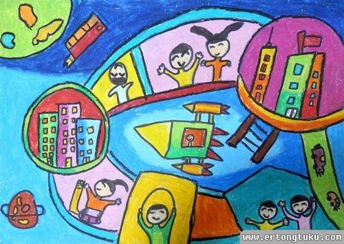 儿童蜡笔画作品:《太空城市》