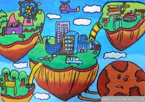 儿童蜡笔画作品:天空之城