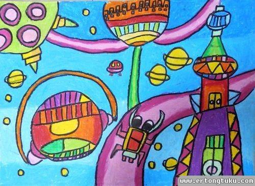儿童蜡笔画作品:月球家园