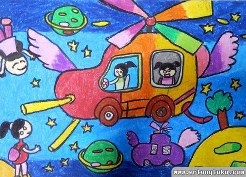 儿童蜡笔画作品:《未来汽车》