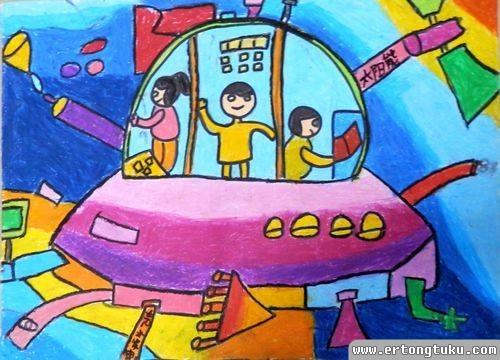 儿童蜡笔画作品:太空清洁飞船