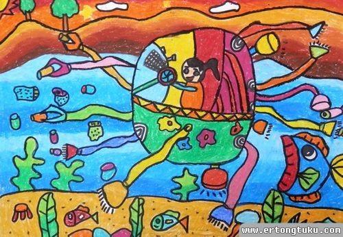 儿童蜡笔画作品:《海底吸尘器》