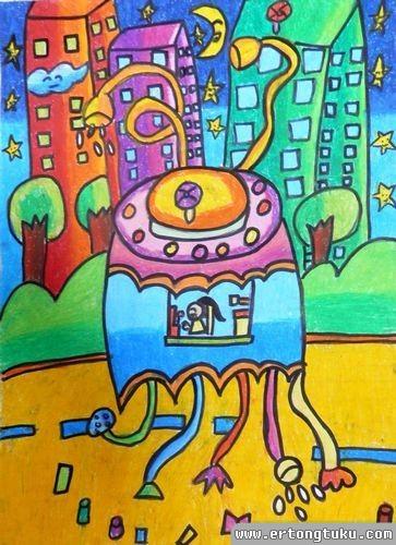 儿童蜡笔画作品:城市清洁机