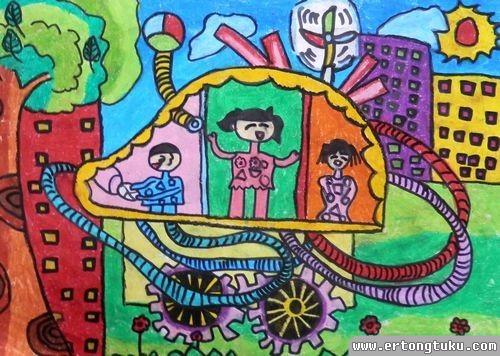 儿童蜡笔画作品:《地球清洁车》