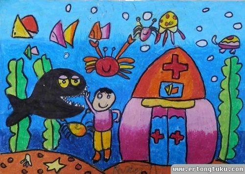 儿童蜡笔画作品:《海底医院》