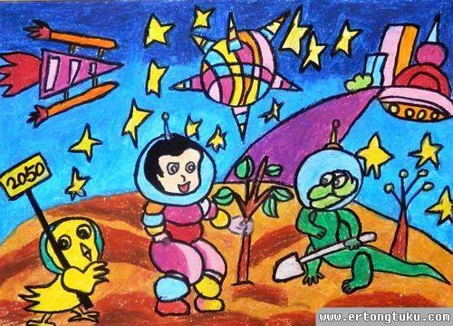 儿童蜡笔画作品:《太空希望》
