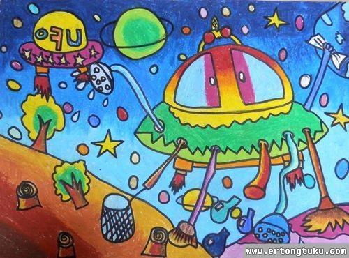 儿童蜡笔画作品:太空清理机器人