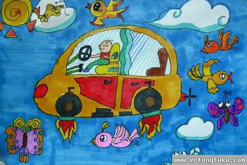 儿童水彩画作品:全能车