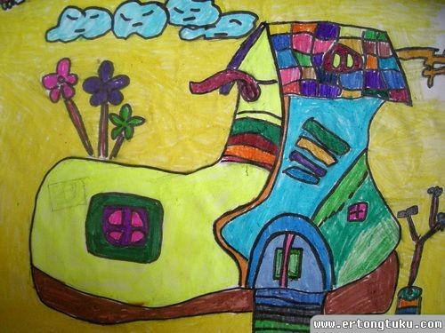 儿童科幻画作品:鞋子的房子