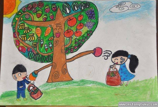 儿童科幻画-水果树
