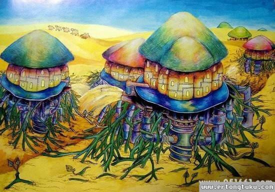 儿童科幻画-蘑菇屋