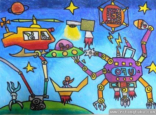 儿童蜡笔画作品:太空修理站