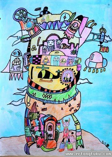 儿童水彩画作品:移动城堡