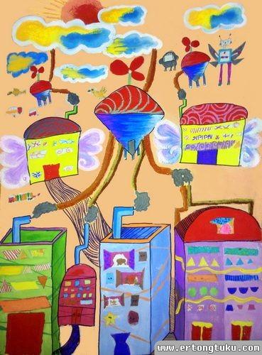 儿童科幻画作品:空气净化机器人