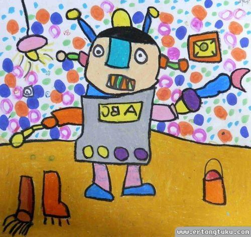 儿童蜡笔画作品:做家务的机器人
