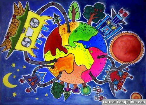 儿童科幻画作品:保护地球的机器人