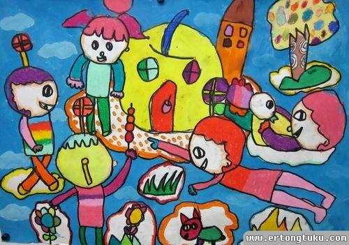 儿童科幻画作品:梦想的生活