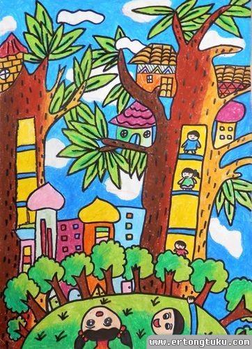 儿童蜡笔画作品:树上的房子