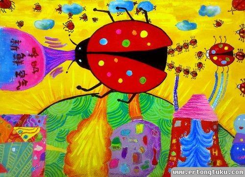 儿童科幻画作品:七星瓢虫净化机器人