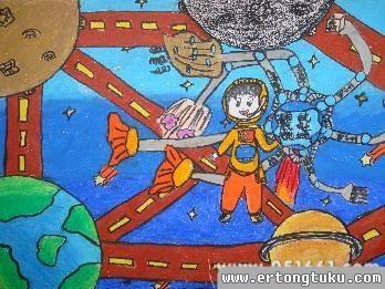 儿童科幻画-在太空