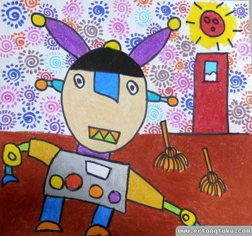 儿童蜡笔画作品:家务机器人