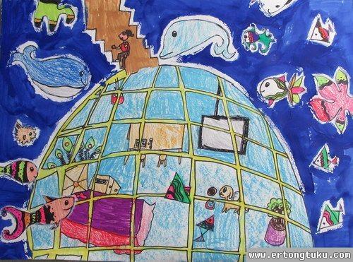 儿童水粉画作品:我未来的城市