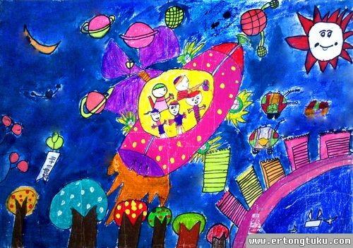 儿童科幻画作品:太空家园