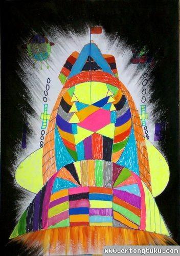 儿童科幻画作品:超级飞船