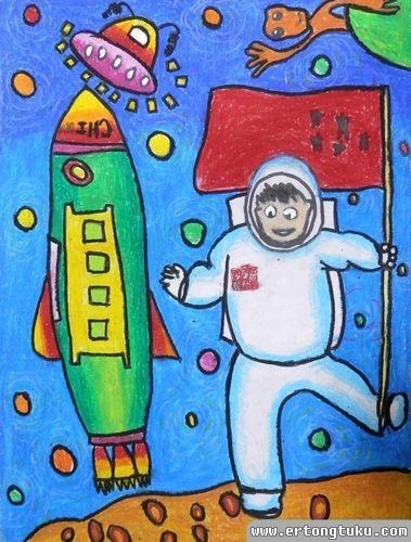 儿童蜡笔画作品:中国宇航员登月