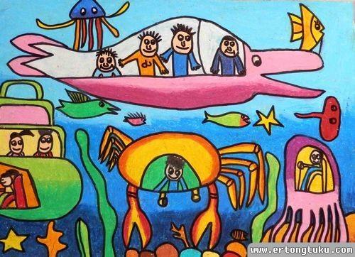儿童蜡笔画作品:海底世界