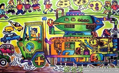 儿童科幻画-环保科幻画
