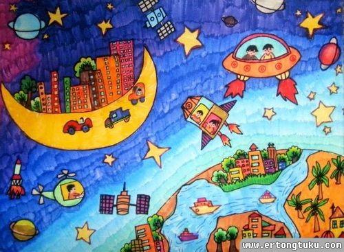 儿童科幻画作品:美丽月亮城