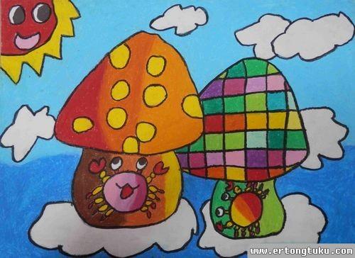 儿童蜡笔画作品:会飞的蘑菇房子