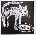 小猫吃鱼版画