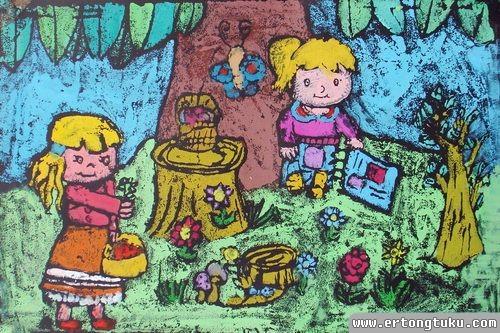儿童版画作品:野餐