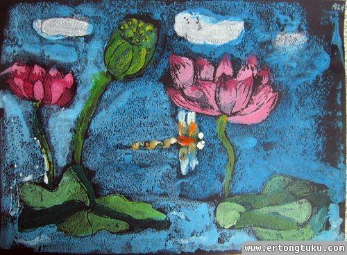 儿童版画作品:荷塘月色