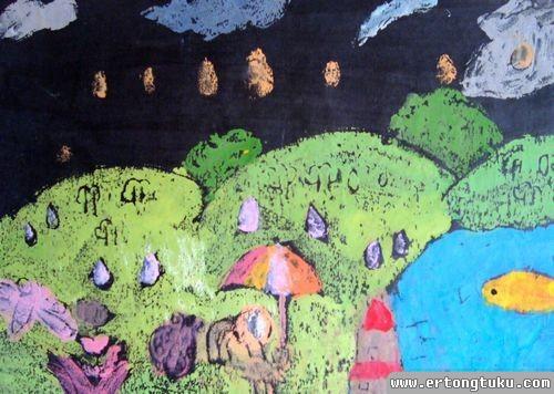 儿童版画作品:雨过天晴