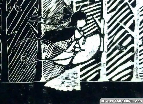 儿童版画作品:古代女子