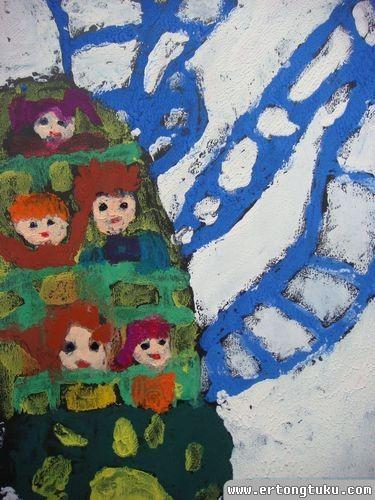 儿童版画作品:过山车