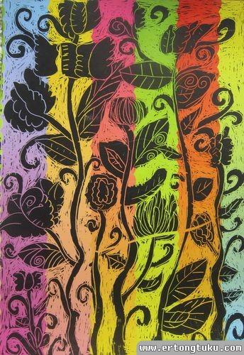 儿童版画作品:鲜艳的花
