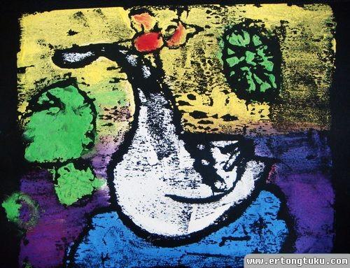 儿童版画作品:优雅的天鹅