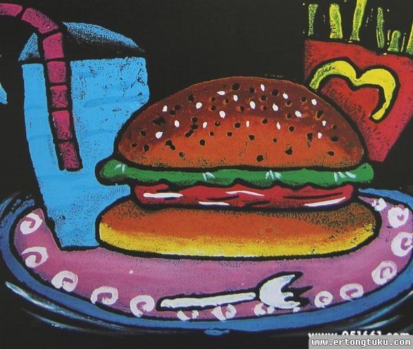 儿童版画-汉堡套餐