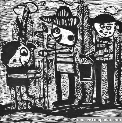 植树节版画:小树伴我成长