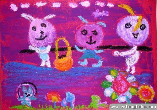 儿童版画作品:收获