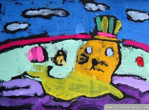 儿童版画作品:海豹